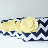 Cosmetic Bag Set, Navy Chevron and Yellow, Bridesmaid Gift