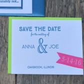 Neon letterpress save the date card.