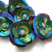 Peacock Blue Green Satin Organza Flowers clip with Rhinestone- Handmade Flowers wedding
