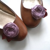 Shoe Clips Cabbage Rosettes in dusky lavender color with fall leaves Handmade