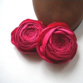 Shoe Clips Red Cabbage Roses Satin Flowers Handmade customize your color