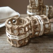 Hemp wrapped wire napkin rings