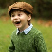 Newsboy Hat in Brown Houndstooth Tweed
