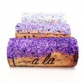 Ombre Purple Glitter Wine Cork Place Card Holders