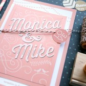 Love birds wedding invitation suite. Romantic typography layered wedding invitations for a fun pink, silver & gold wedding. DIY or printed.