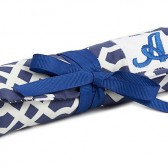 CraftyStitches Travel Jewelry Roll - Geo Tile Navy