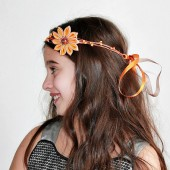 Orange Flower Crown, Rustic Head Wreath, Woodland Halo