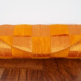 Orange woven silk clutch