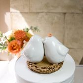 White Loe Bird Wedding Cake Topper