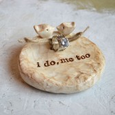 Package deal ... Wedding ring bearer bowl AND cake topper lovebirds to match ... i do, me too