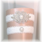 Ivory Lace Rhinestone and Pearl Wedding Garter Set, Bridal Garter Set, Keepsake and Toss Garters