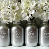 Silver Painted Mason Jars