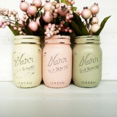 Cream, Blush and Olive Pint Size Painted Mason Jars