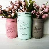 Coral, Mint and Taupe Trio - Painted and Distressed Mason Jars