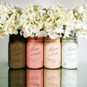 Blush and Mocha - Painted and Distressed Mason Jars