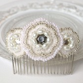 Silver Beaded Bridal Hair Comb, Vintage, Art Deco Style
