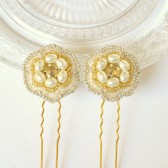 Gold Beaded Hair Pins, Bride, Bridesmaid, Vintage, Art Deco