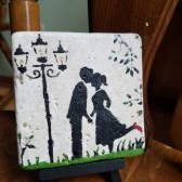 Custom Coaster Kissing Couple Natural Stone Coaster
