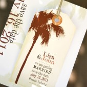 Palm Tree Save the Date Magnet Tag