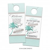 Customizable Wedding Hotel Door Hangers - Tropical Destination Beach Cruise Chevron Palm Tree Bridal Door Hanger for Guests or Welcome Bags