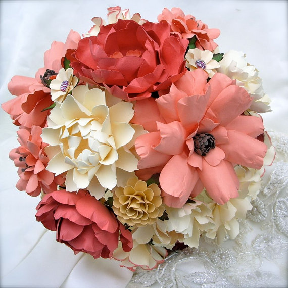 Paper flower bouquets handmade wedding emmaline bride paper flower bouquets mightylinksfo