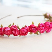 Fuschia Paper Flower Hair Crown