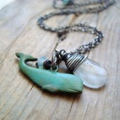 Whale Charm Necklace with Aquamarine