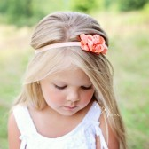 EvaJune Peach Flower Girl Headband