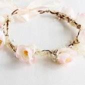 Peach Flower Crown, Baby's Breath Halo, Rustic Crown, Woodland Hair Wreath