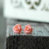Peach Rose . Post Earrings