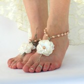 bridesmaid-wedding-barefoot-sandals, soleless-sandals, footless-sandals, pearls, color-options, flowers, roses