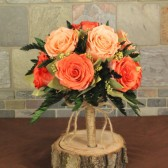 dark and light peach preserved rose bouquet