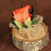 peach rose woodland boutonniere