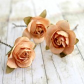 Peach Paper Flower Hair Pins