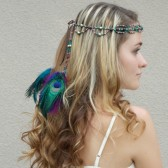 peacock-hair-accessory, bohemian-headband, hair-jewelry, beaded-head-crown, hair-feathers, peacock, headcrown, bridal-headband