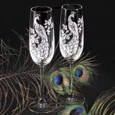 peacock wedding champagne flutes