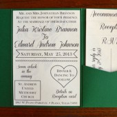 Retro Pocketfold Peacock Wedding Invitation
