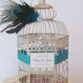 Peacock Wedding Birdcage Card Holder
