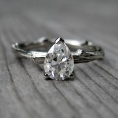 Pear Forever Brilliant Moissanite Twig Engagement Ring (.75ct)