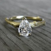 Pear White Sapphire Twig Engagement Ring (1ct)