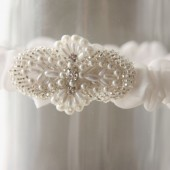 Pearl Rhinestone Beaded Garter, Narrow Band organza fabric garter, white, ivory garter, wedding garter, bridal garter