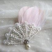 Feather Fan Hair Accessory, Bridal Hair pin, Pearl Drop, Feather Hair clip, pearl bridal hair piece, feather fascinator, Pink Feather Hair Accessory, ivory, white