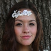 Beaded Lace Headpiece, Bohemian Headpiece, Rustic Chic, Headband, Lace Headband, Lace Headpiece, Pearl Beaded Lace Headband