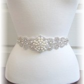 Bridal Sash, Bridal Belt, Pearl and Rhinestone Bridal Sash choose your custom color