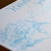 Peonies Wedding Invitation with Shimmer Paper and Ribbon