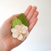 Pale Peach Felt Flower Barrette with Leaves