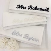 Personalized mrs surname clutch