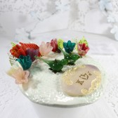 Emerald Autumn - personalized love birds wedding cake topper
