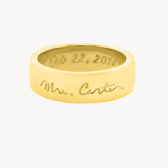 personalized wide band wedding ring engraved