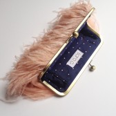 Ostrich Feather Clutch in Blush and Gold
